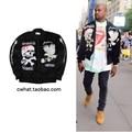 Kanye Kanye West Hombres Chaqueta Negro MA-1 Bomber Jacket Marca Ropa Espesar Abrigos de Yokosuka Águila Cráneo de Hip Hop chaquetas
