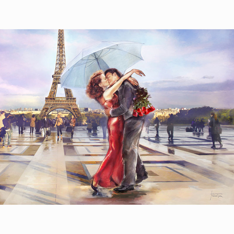 Needlework paris street diy diamond painting cross stitch for What kind of paint to use on kitchen cabinets for street art wall decals