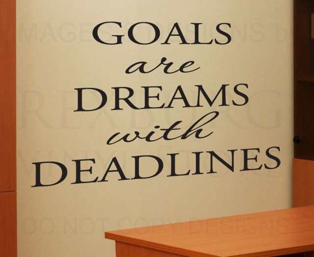 Wall Quote Decal Sticker Vinyl Art Lettering Goals are Dreams with ...