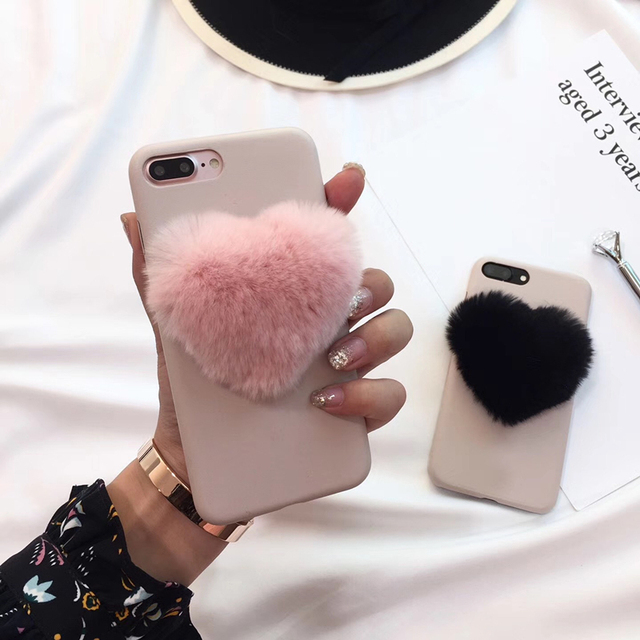 size 40 42cda 43588 US $3.86 10% OFF|Supre cute lovely 3D heart pink Fox Fur Ball soft pink  leather Phone Case For iPhone 6 6S 7 8 Plus 8 Japan Winter Warm cover-in ...