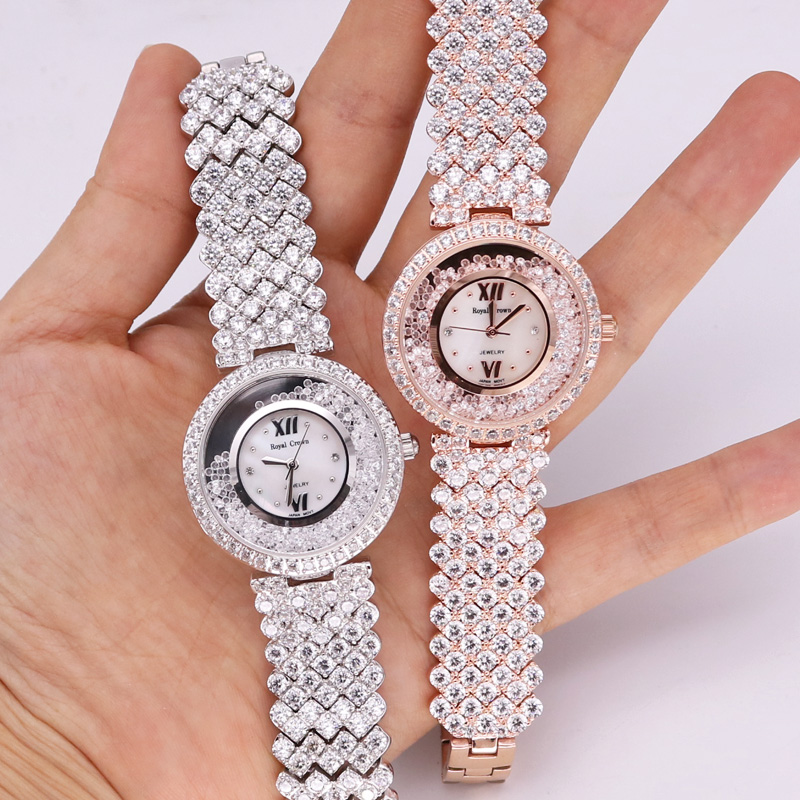 Prong Setting Luxury Jewelry Lady Women's Watch Fashion Full Crystal Hours Dress Bracelet Rhinestone Girl's Gift Royal Crown Box free silver bracelet watch set full diamond bangle watch lady luxury dress jewelry charm watch rhinestone bling crystal bangle