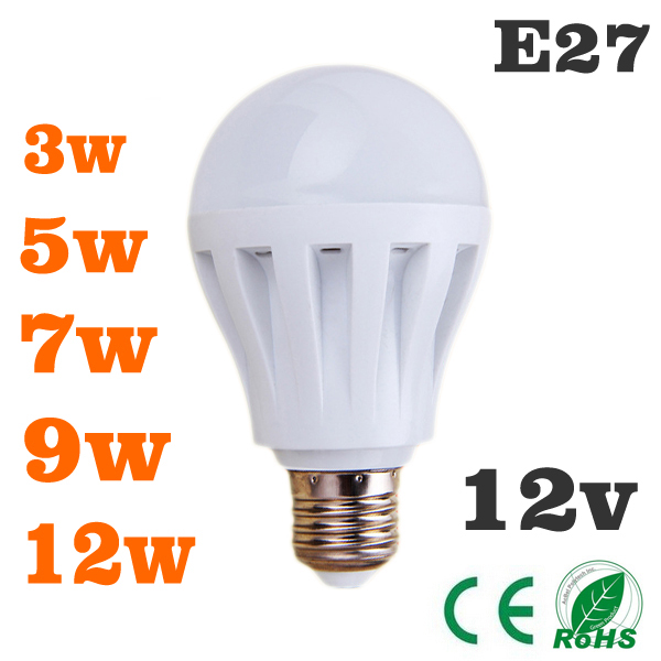 10 piece led bulbs 3w5w7w9w12w led light bulb dc 12v e27 12 volt led de luz wat lamp bulb to led. Black Bedroom Furniture Sets. Home Design Ideas