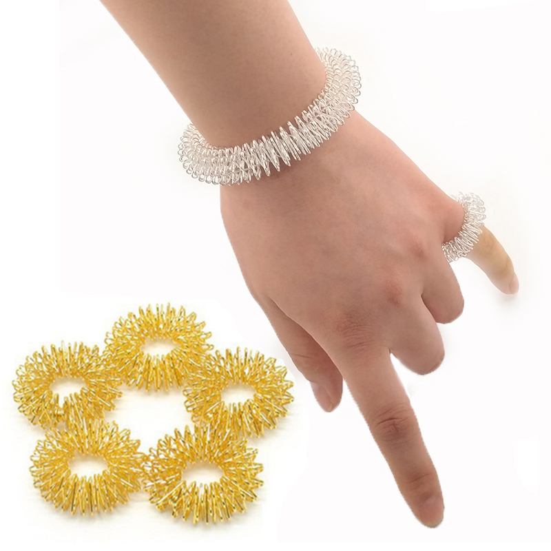 Anti Stress Spiky Sensory Tactile Bracelet Finger Trainer Ring Fidget Training Finger Sensory Toy For Autism ADHD Stress Relief