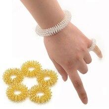 купить Anti stress Spiky Sensory Tactile Bracelet Finger Trainer Ring Fidget Training Finger Sensory Toy for Autism ADHD Stress Relief по цене 177.16 рублей