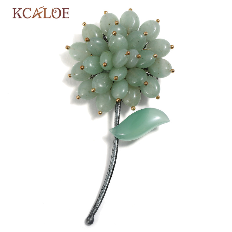 все цены на KCALOE Flower Brooch Green Natural Stone Vintage Bouquet Pins And Brooches For Women Dress Scarf Pin Broche Femme Bijoux