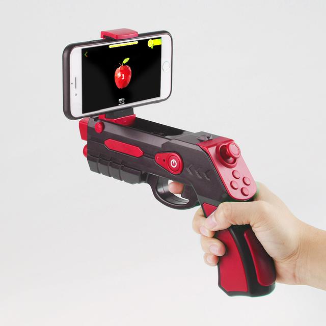 Enjoybay AR Gun Outdoor Toy 4D Remote Sensing Game Gamepad Bluetooth Smart Pistol w/ Phone Holder Games Gun Toys for Android ios