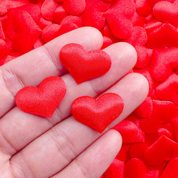 цена на 250pcs Red Heart Applique,Padded Satin Heart 21mm valentines Day Gift Decoration Wedding Invitation Card Making Party Decor