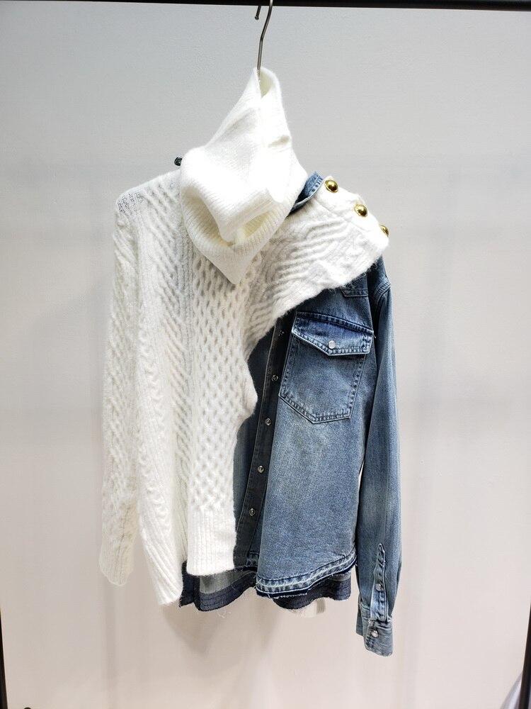 Patchwork Chandail Des Whitney 2019 Printemps Pull Wang Denim Automne Chandails Mode Asymétrique Blanc Femmes Streetwear Jumper pza0gwqzx