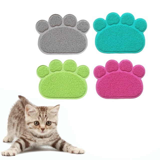 PVC Paw Print Pad Dog Cat Litter Mat Pet Puppy Kitty Dish Feeding Bowl Placemat Anti-skid Waterproof Sleeping Pad