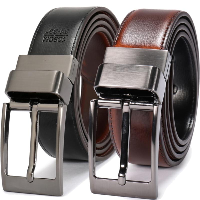Designer Reversible Belts Two Sided Use Luxury Fashion Split Leather Jeans Men Belt