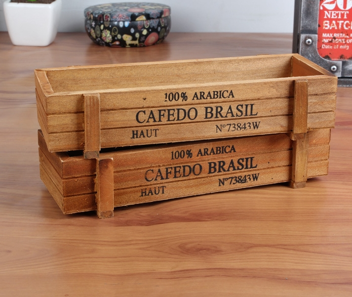 Hot Sale Classic Design Wood Storage Box Flower Pot Holder Office Table Organizers Free Shipping