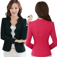Spring OL Fashion Women Slim Blazer Coat Casual Jacket Long Sleeve One Button Suit Ladies Work Blazers 5