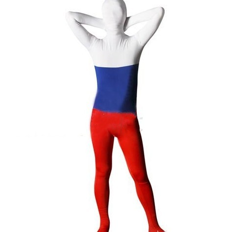 Russian Federation Flag Zentai Second Skin Suit Fancy Dress Costume Spandex Lycra