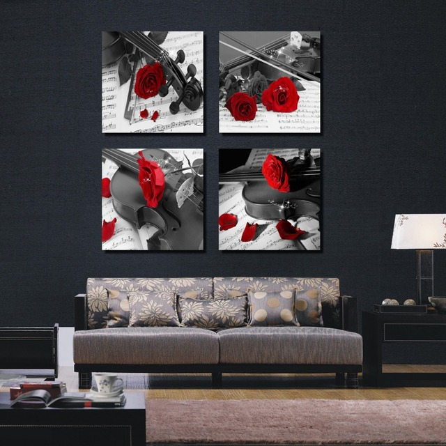 4 Pieces Combinated Guitar Rose Flower Canvas Painting Modern Home Decor Music Love Wall Picture