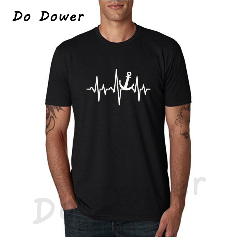 2018 New Fashion T Shirt Men Funny Anchor Heartbeat Graphic Tees Mens Clothes Tops Casual Short Sleeve Cotton T-Shirt Tees