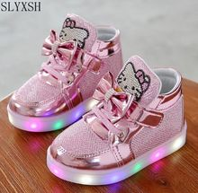 New Princess Girls Sports Shoes Autumn Winter Cartoon LED Sneakers Korean Children High Top Boots Kids