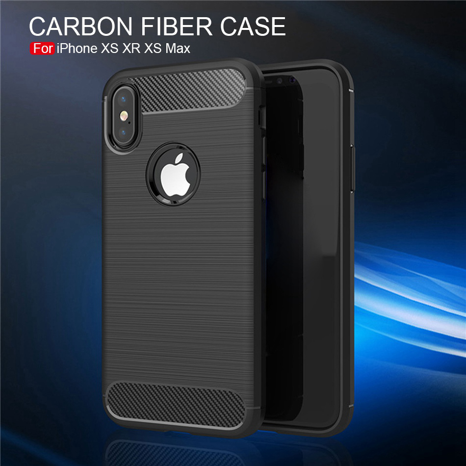 Carbon Fiber Iphone XS Max XR Soft TPU Silicone Cover Phone Iphone X S Plus X S Max X R Coque Silicon