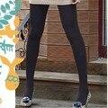 2016 Moda de Invierno Las Mujeres de Lana Delgada Medias Negras Largas Netas Medias Calentadores de Manera Flexible
