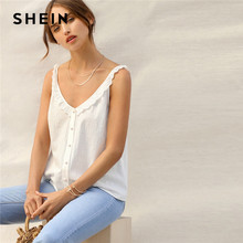 19a70b35d1cf SHEIN White Eyelet Embroidered Ruffle Trim Button Front V Neck Cami Plain  Top Women Summer Party Highstreet 2019 Vests