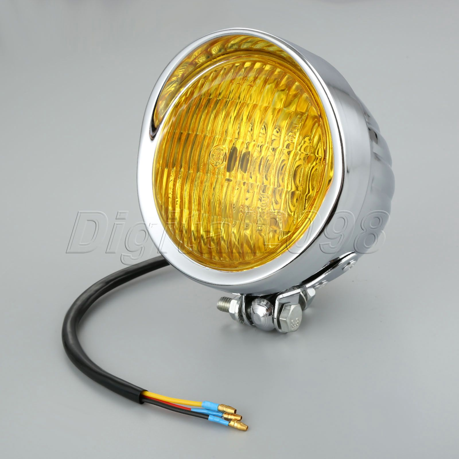 Clear Yellow Lense Motorcycle Headlight Head Light Lamp Hi/Lo Beam For Harley Bobber Choppers Touring Custom Moto Bikes 12V 35W