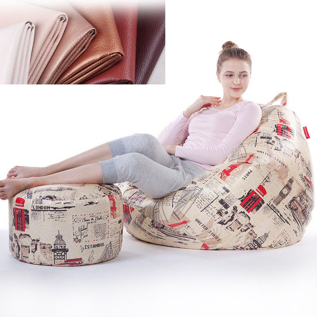Bean Bag Cover Lounger Sofa Chairs Ottoman Set For Living Room Outdoor Pouf Puff Seat