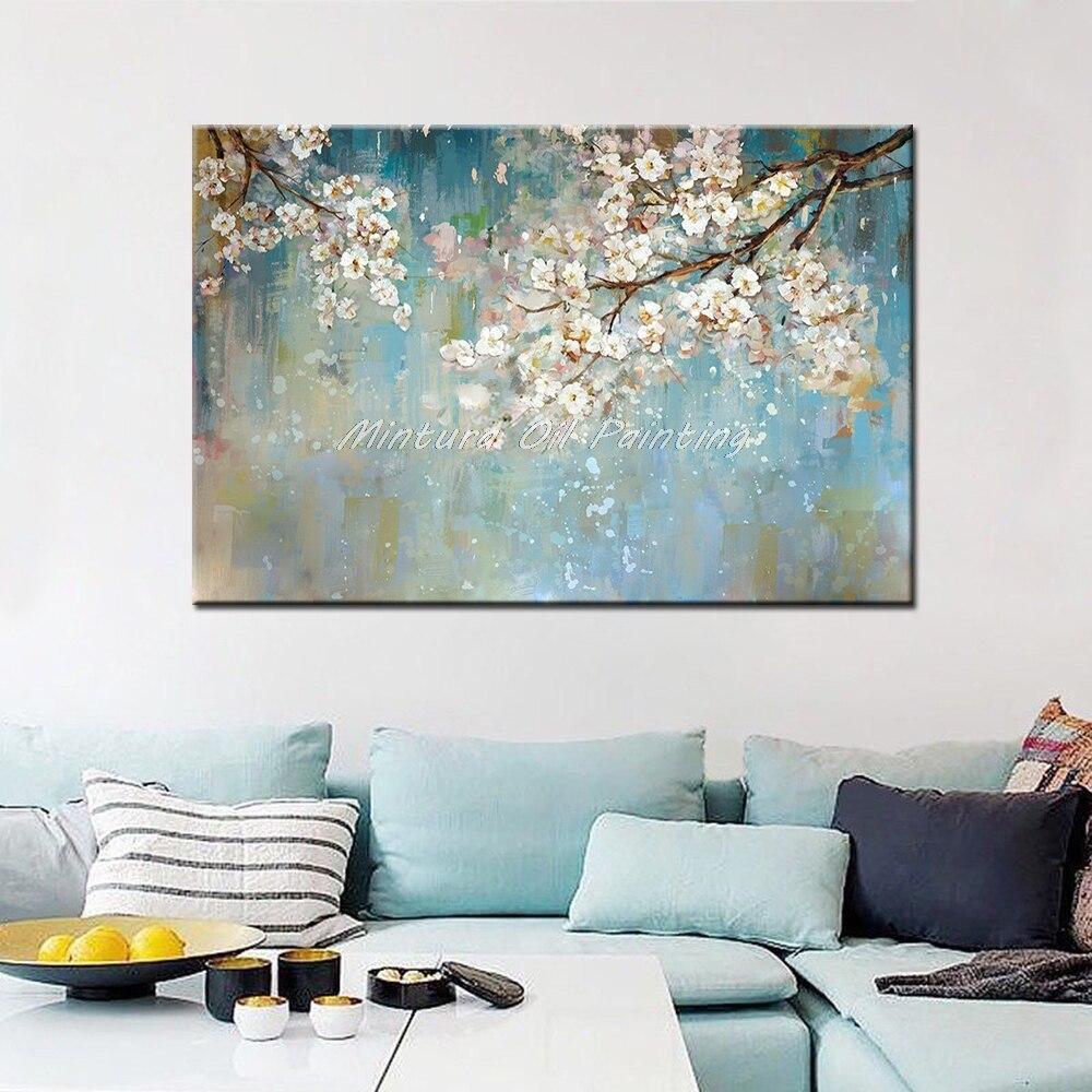 Mintura ручная роспись цветы и дерево Рисование современные картины маслом на холсте настенные картины для гостиной домашний Декор без рамки - Цвет: MT161532