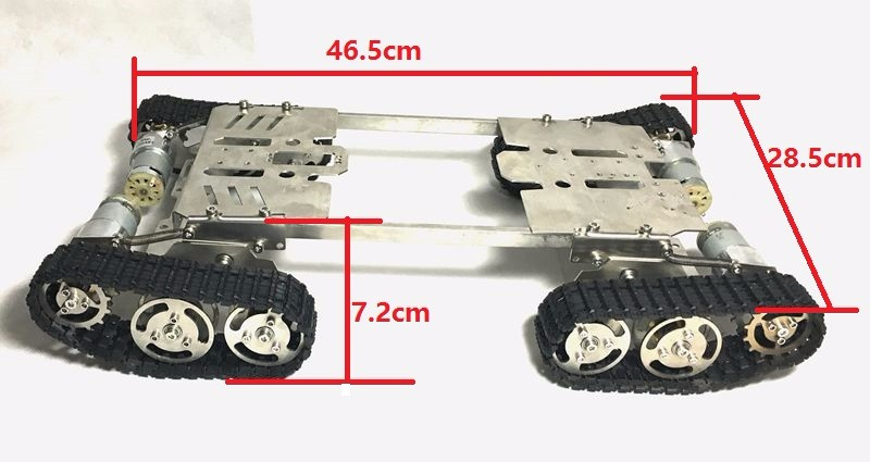 цены  RC Stainless Steel Metal Tank Chassis Robot Smart Track with Two Carbon Brush Motor Four-wheel Clawler Caterpillar DIY RC Toy
