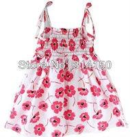 FREE SHIPPING Pretty Girl Fashion Dress Children Flower Cotton One Piece Dress Kid Summer Wear Braces