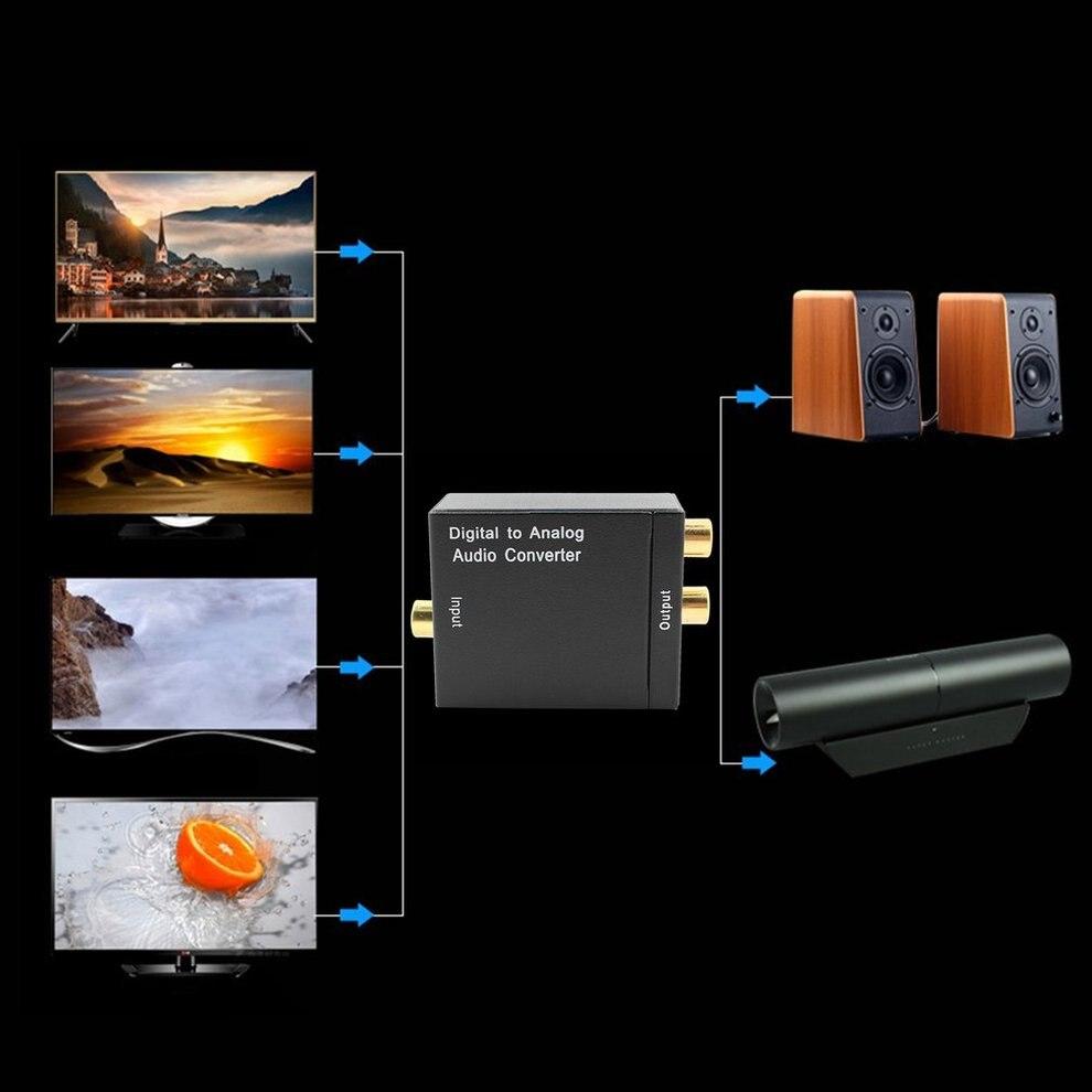 5pcs Optical Coaxial R/L Digital Audio Converter Adapter Optical Coax to Analog RCA Audio Converter with Fiber Cable EU plug