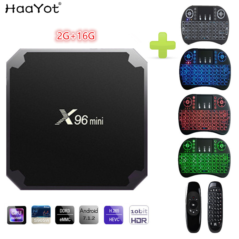 HAAYOT X96 Mini Android 7.1 TV BOX 2GB 16GB Amlogic S905W Quad Core 2.4GHz WiFi 4K HD Media Player Smart Set-top Box with IR шон коннери мюррей григор быть шотландцем