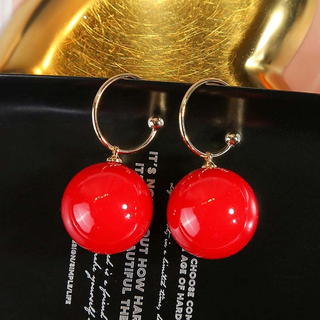 Real 925 Sterling Silver Needle Hoop Earrings for Women Jewelry Gold Red Pearl Wedding Party Female.jpg 640x640 - Real 925 Sterling Silver Needle Hoop Earrings for Women Jewelry Gold Red Pearl Wedding Party Female Round Ball Earrings Gift