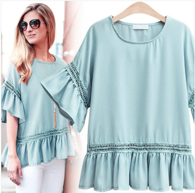 2da45726cfc 2018 summer white Chiffon Blouse Women Tops Flare Sleeve Hollow loose Shirt  Women Blouses Korean Fashion Blusas Chemise Femme