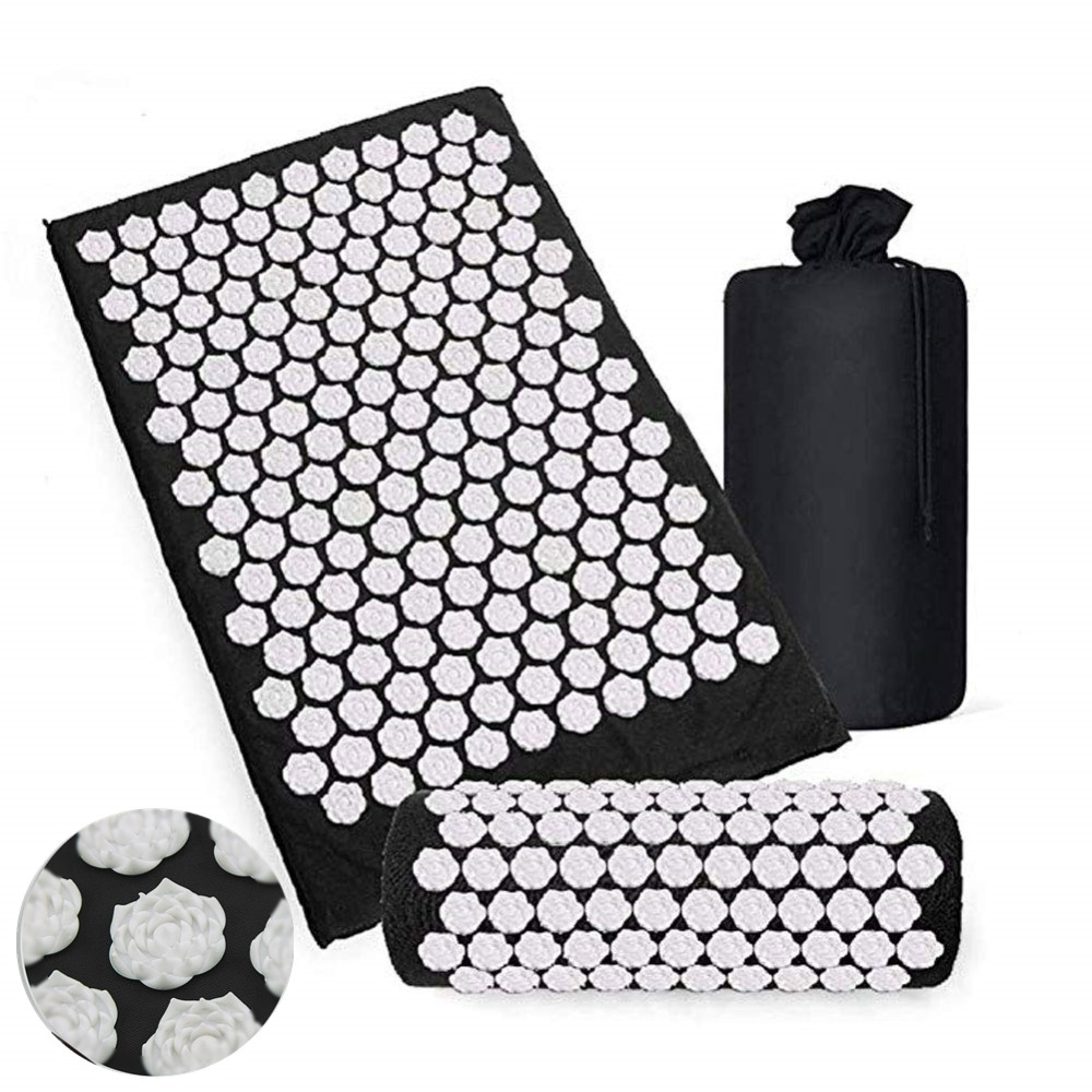 Lotus Yoga Acupressure Mat And Pillow Set Cushion Mat Bed Pilates Fitness Massager Relieve Pain With Carry Bag Drop Shipping