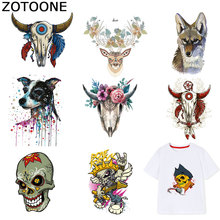ZOTOONE Bull Head Patch Animal Skull Stickers Iron on Transfers for Clothes T-shirt Heat Transfer Diy Accessory Appliques F1