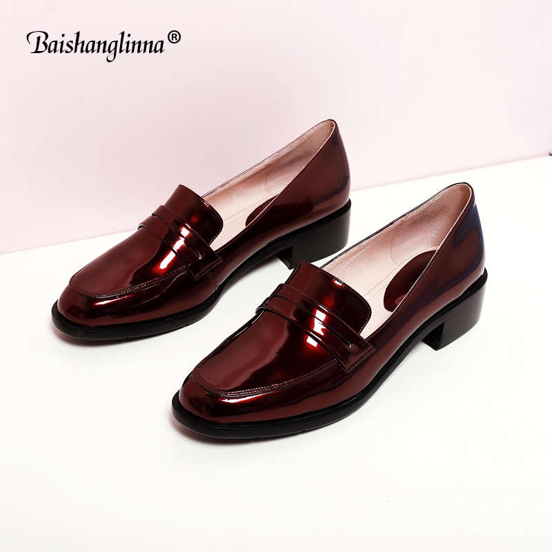 Oxford Shoes women Bullock Shoes Patent Leather Casual Brogue Flats 2018 Spring Genuine leather Black Burgundy handmade Flats bullock luxury carved patent leather men shoe business brogue genuine leather casual shoes men flats oxford shoes big size 38 48