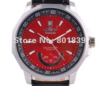 LUXURY MENS RED DIAL STEEL CASE DATE AUTOMATIC MECHANICAL WRIST WATCH Nice Gift Wholesale Price A507