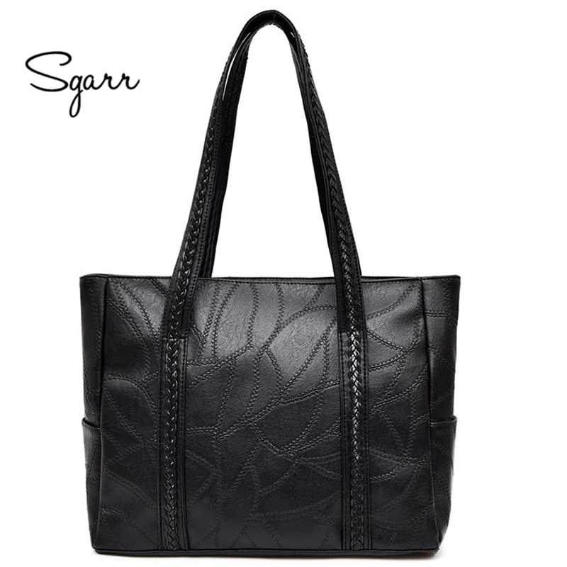 SGARR women handbag large tote bag fashion black shoulder bag with soft artificial leather female cross body bag small purse