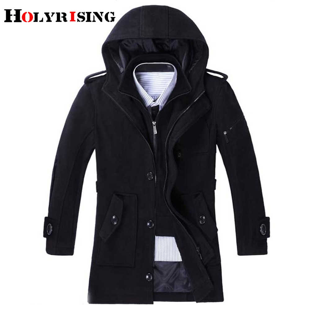 fashion autumn winter trench coat men long thicken wool coats mens overcoat warm windbreaker male  jackets black gray m-3xl