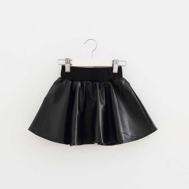 Baby skirts for girls Faux Leather Skirt Mini Black Tutu Skirt High Waist Short Pleated Skirts Winter Elastic Pu skirts 2016