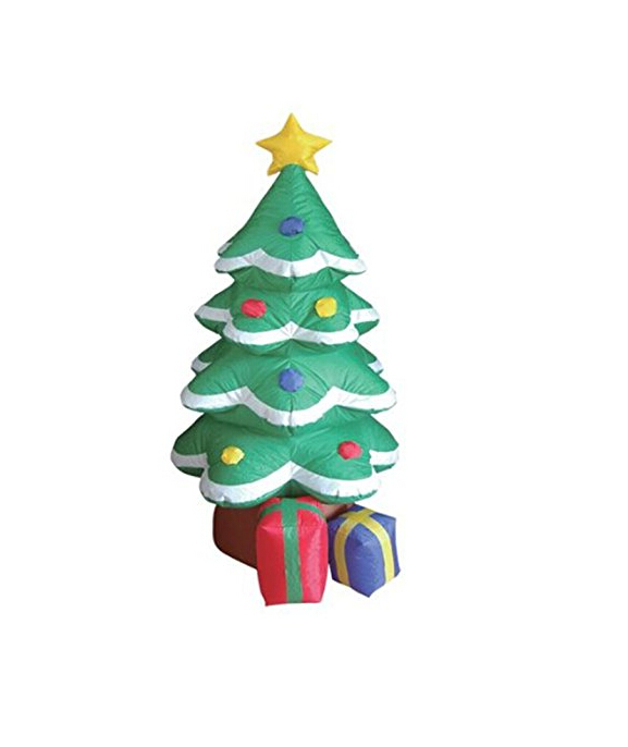 4 Foot Inflatable Christmas Tree Xmas Inflatable Tree Flashing Lighted Blow-Up Yard Party Decoration