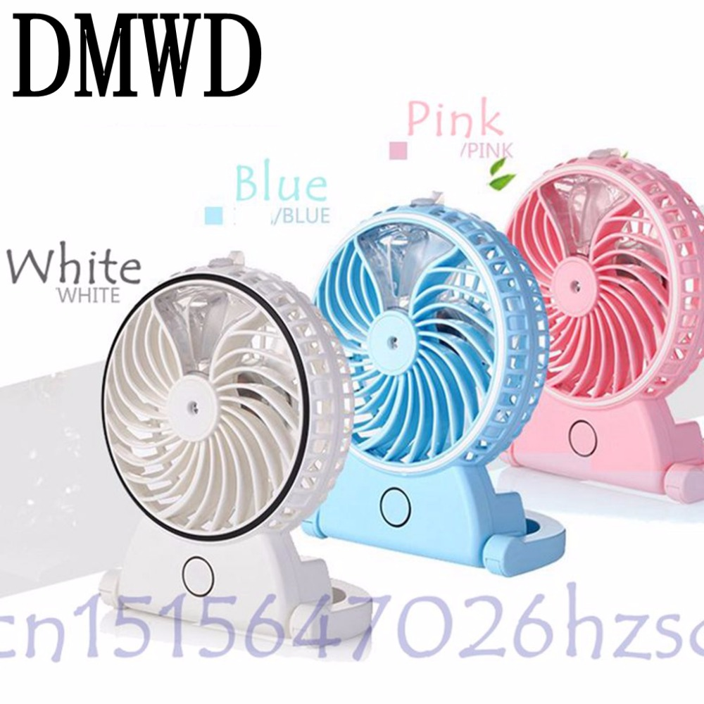 DMWD Summer Humidifier Mini Fan USB Rechargeable Water Mist Fan With Lithium Battery Office Home Round Table Pedestal Cooling air humidifier with night light mini fan usb rechargeable water mist fan air conditioner fan office home table pedestal cooling