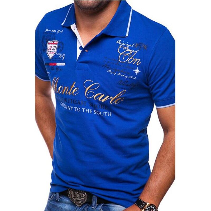 725e3331b9f ZOGAA для мужчин  короткий рукав рубашка поло Модный Повседневная с  буквенным принтом мужские поло рубашки