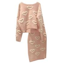 Winter Women Knitted Skirt Set 3D Heart Pattern Long Sleeve Sweater Knitting Pullovers + Midi Skirt Fashion Female 2 Piece Set