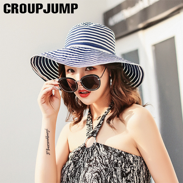69692d213ac US $6.59 35% OFF|Aliexpress.com : Buy Fashion Women Sun Hat Striped Summer  Beach Hats Female Vacation Gorras Ladies Bucket Foldable Sun Hats Women ...