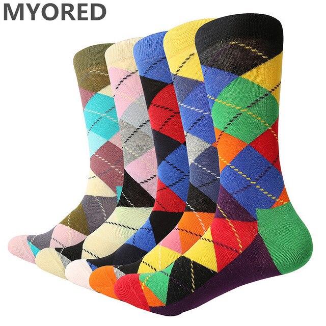 MYORED 5pairs/Lot fashion mens combed cotton long socks men socks set colorful funny happy socks wedding sock business sock gift