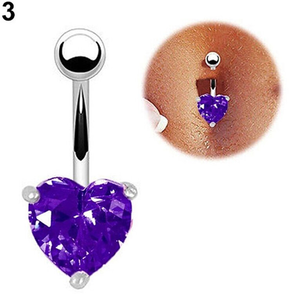Us 2 2 15 Off 1piece White Gold Navel Belly Button Ring Purple Cubic Zircon Bar Heart Belly Piercing Body Jewelry In Body Jewelry From Jewelry