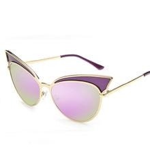 Мода Розовые Линзы Cat Eye Солнцезащитные Очки Женщины Классический Марка Дизайн Солнцезащитные Очки Покрытие Зеркало Солнцезащитные Очки Для Женщин Очки UV400