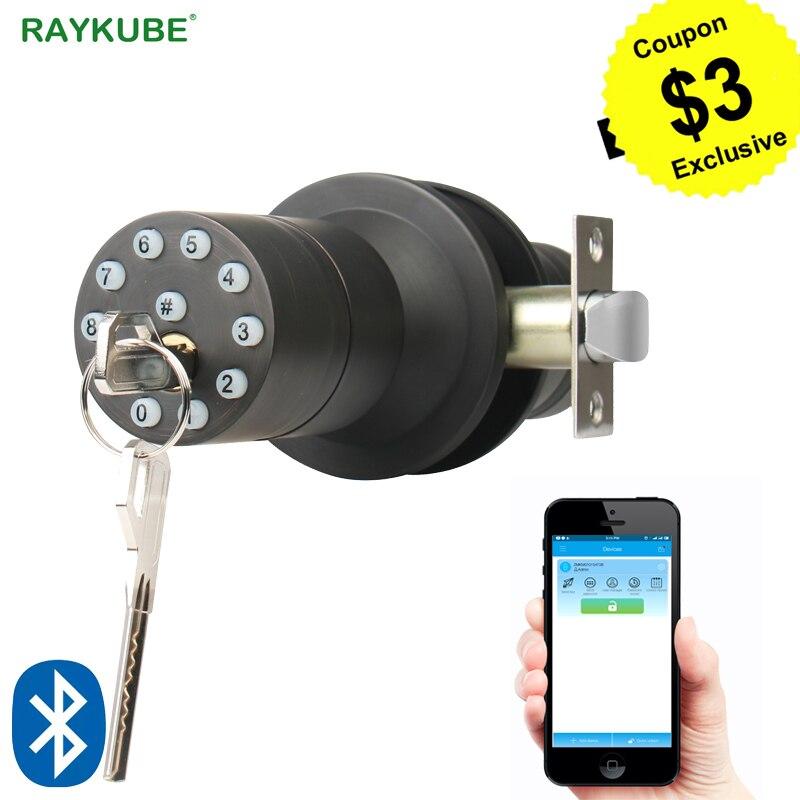 RAYKUBE Bluetooth Electronic Door Lock Knob Digital Code Door Lock APP Password Keyless Opeing Enter Smart Live Waterproof IP65 hearth