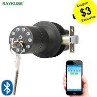 RAYKUBE Bluetooth Electronic Door Lock Knob Digital Code Door Lock APP Password Keyless Opeing Enter Smart Live Waterproof IP65
