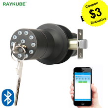 RAYKUBE Bluetooth Electronic Door Lock Knob Digital Code Door Lock APP Password